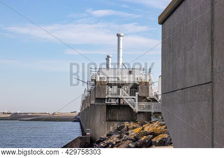 A Set Of Dams, Sluices, Locks, Dykes, Levees, And Storm Surge Barriers At The Delta Works. Environme