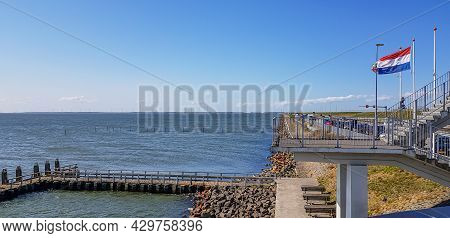 Lake Ijssel Created By Closing Part Of The Zuiderzee With A Small Jetty Between Stones, Stairs, A Du