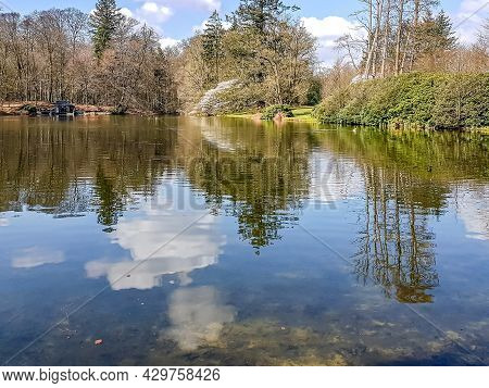 Lake With Mirror Reflection On The Water Surface Of Surrounding Bare Trees, Plants, White Clouds And