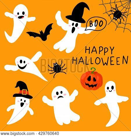 Cute Flying Ghost Spirit Set In Flat Childlike Style. Happy Halloween Collection With Spider, Spider