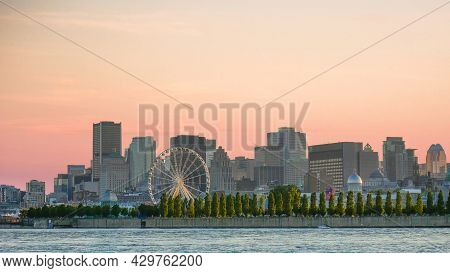 Golden Hour, View Of The City Of Montreal From Parc Jean Drapeau, Montreal, Quebec, Canada