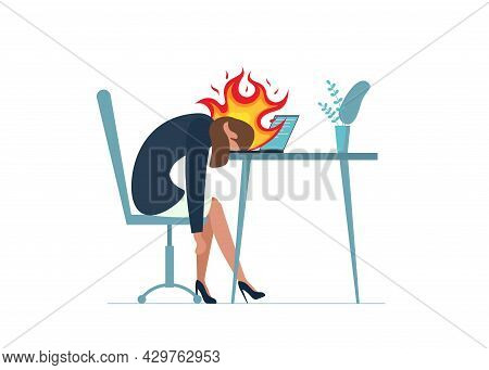 Businesswoman Professional Burnout Syndrome. Exhausted Sick Tired Female Manager Sitting With In Fir
