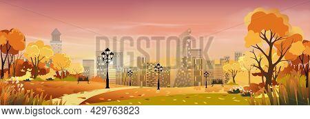 Autumn Cityscape With Sunset Sky Background,dramatic Sunrise Over The City,twilight Skyline Landscap