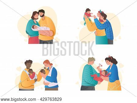 Set Of Cute Couples Holding Newborn Baby On White Background. Different Happy Families Are Taking Ca