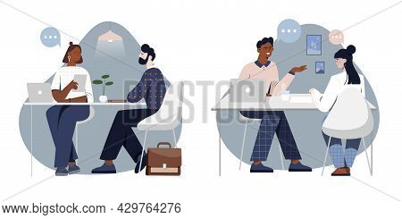 Set Of Scenes With Male And Female Characters On Job Interview. Concept Of People Talking To Hr Mana