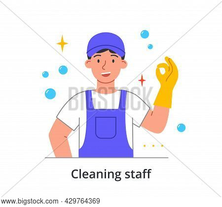 Smiling Male Cleaning Company Staff Member Is Showing Okay Gesture In Gloves On White Background. Co