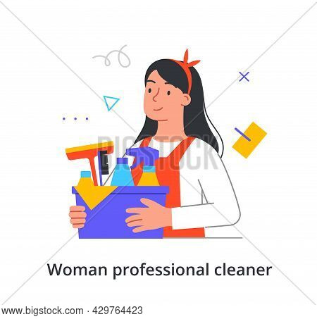 Happy Female Cleaning Staff Professional Member Is Holding A Bin With Cleaning Equipment On White Ba