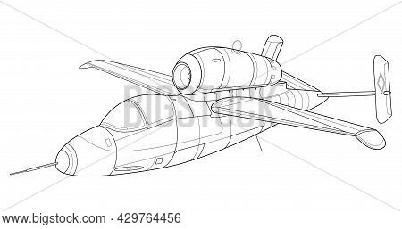 Military Jet Coloring Page For Book And Drawing. Airplane. War-plane. Aircraft.vector Vehicle Illust