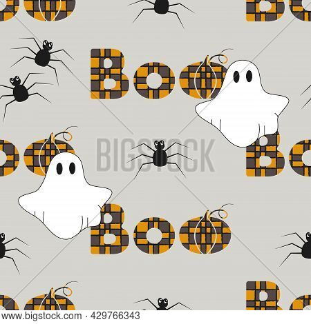 Seamless Pattern With The Inscription Boo, Spiders And Ghosts For Halloween. Halloween Background. B
