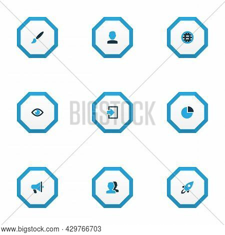 Interface Icons Colored Set With User, Globe, Brush And Other Earth Elements. Isolated Vector Illust