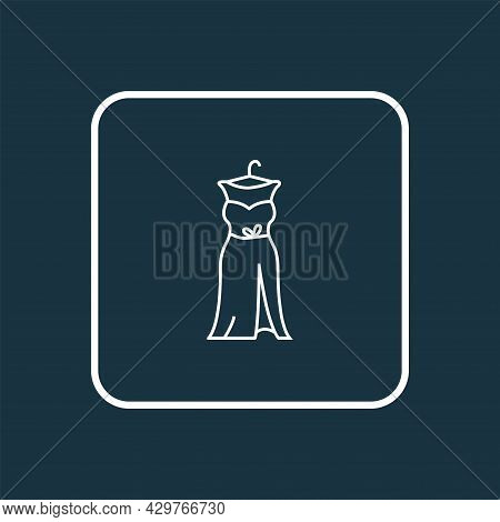 Prom Dress Icon Line Symbol. Premium Quality Isolated Gown Element In Trendy Style.