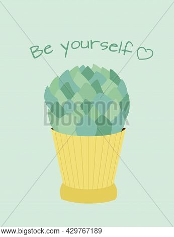 Home Cactus In A Yellow Flowerpot Isolated On A Green Background.  Plants And Thorns.  Vector Flat I