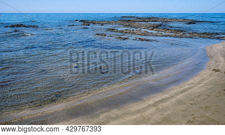 Seascape With Sandy Beach. Coastline Of Paphos Cyprus