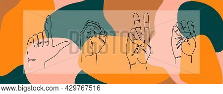 Sign Language Love - Vector Illustration. Colorful I Love You Sign Hand Gesture. Abstract Valentines