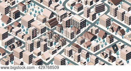 Isometric City Street. Town Buildings, Park With Benches And City Road Vector Illustration