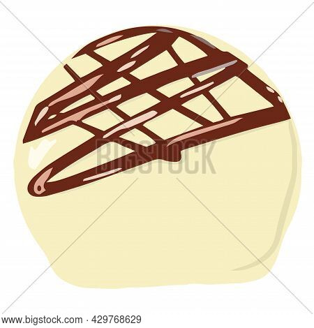 Chocolate Candy, Chocolate Bar, Isolated Pieces, Milk And White Chocolate. Cartoon Illustration, Mod