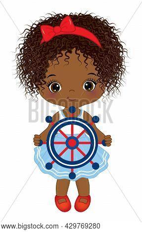 Vector Cute Little African American Girl Wearing Nautical Dress. Little Curly Black Girl Holding Ste