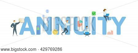 Annuity. Concept With Keywords, People And Icons. Flat Vector Illustration. Isolated On White.