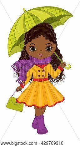 Vector Beautiful African American Girl Holding Umbrella And Handbag. Black Young Girl Wearing Rain C