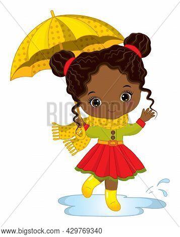 Vector Cute Little African American Girl With Umbrella. Vector Little Black Girl Wearing Rain Coat,