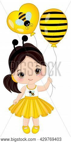 Vector Cute Little Girl Wearing Yellow Striped Dress And Bee Antenna Headband And Holding Air Balloo