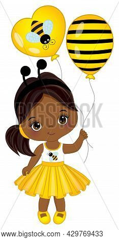 Vector Cute Little African American Girl Wearing Yellow Striped Dress And Bee Antenna Headband. Blac