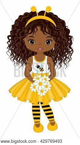 Vector Cute Teen African American Girl Wearing Yellow Dress, Striped Stockings And Bee Antenna Headb