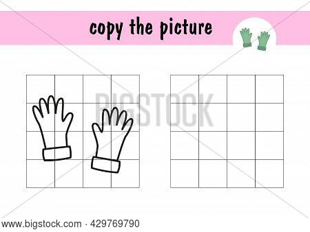 Children S Mini-game On Paper - Draw Warm Gloves. Copy The Picture Using Grid Lines, Simple Toddler