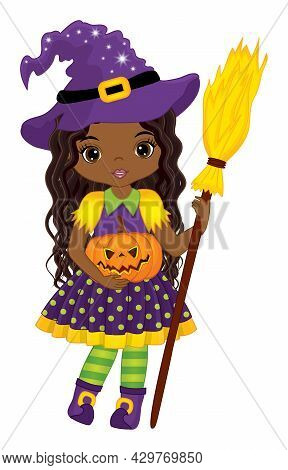 Vector Cute African American Witch Holding Broomstick And Pumpkin. Halloween Witch With Long, Curly