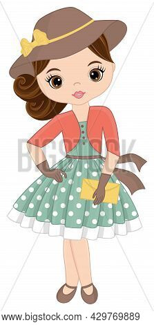 Beautiful Young Girl Dressed In Polka Dot Dress And Hat In Retro Style. Retro Girl Is Brunette. Pin-