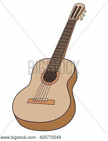 Guitar Musical Instrument - Vector Full Color Illustration. Acoustic Guitar - Stringed Musical Instr
