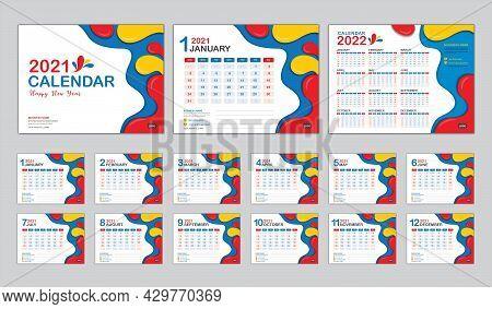 Desk Calendar 2021 Template Vector, Calendar 2022 Year, Set Of 12 Months, Fluid Colorful Background,