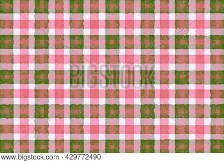 Pink Brown Green Checkered Old Vintage Background With Blur, Gradient And Grunge Texture. Classic Ch