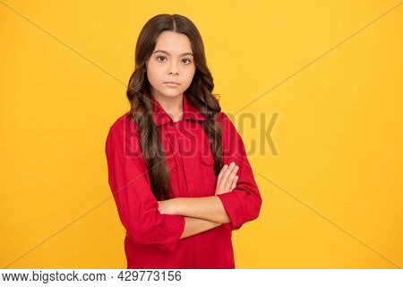 Serious Child Girl With Crossed Hands Looking Confident, Confidence