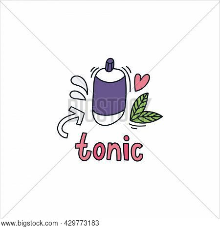 Tonic Hand Drawn Doodle Lettering. Vector Illustration. Beauty Products And Skin Care Concept.
