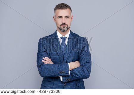 Confident Businessman Man In Businesslike Suit Crossed Hands, Confidence