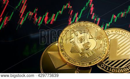 The Litecoin  Bitcoin And Ethereum  Coin On Business Chart For  Cryptography Or Business Concept