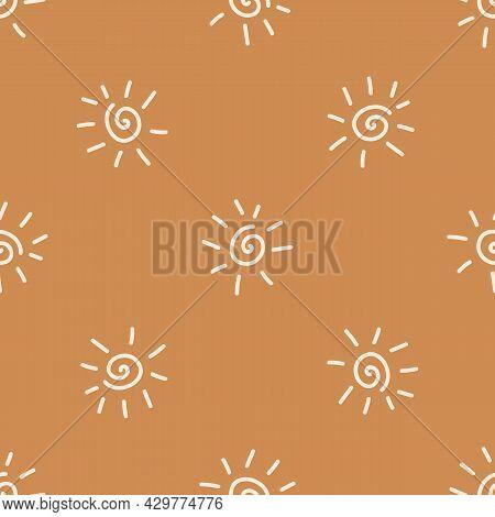 Seamless Background Sun Gender Neutral Pattern. Whimsical Minimal Earthy 2 Tone Color. Kids Nursery