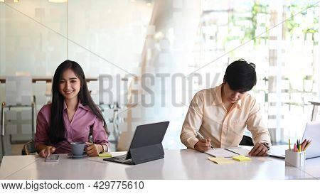 Business People Are Planning New Project Discuss Interesting Idea Companionship In Meeting Room.
