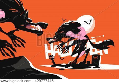 Werewolf On Scary Cemetery Vector Illustration. Horror Decorations And Full Moon Flat Style. Autumn