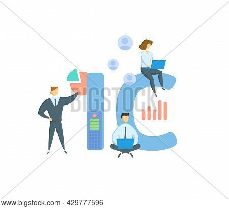 Ic, Internal Control. Concept With Keyword, People And Icons. Flat Vector Illustration. Isolated On