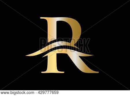 Premium Letter R Logo Design With Water Wave Concept. R Letter Logo Design. R Letter With Luxury Con
