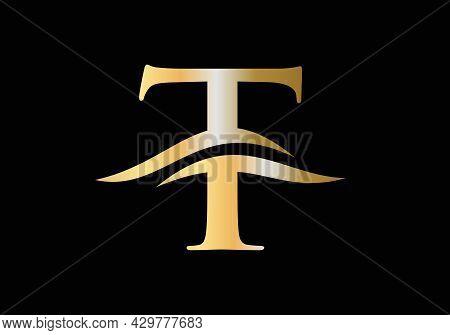 T Letter Logo Design. Premium Letter T Logo Design With Water Wave Concept. T Logo Typography Vector