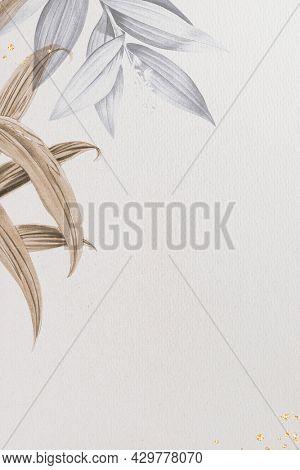 Tropical leafy frame background illustration