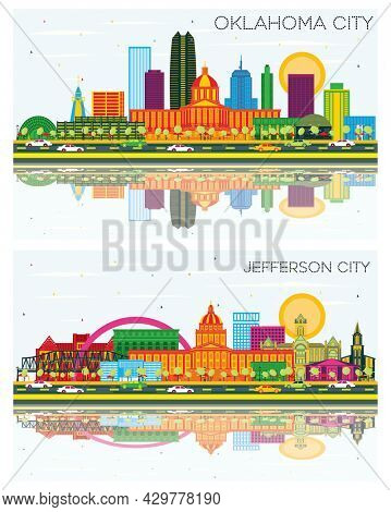 Jefferson City Missouri and Oklahoma City Skyline Set with Color Buildings, Blue Sky and Reflections. Business Travel and Tourism Concept with Modern Architecture.