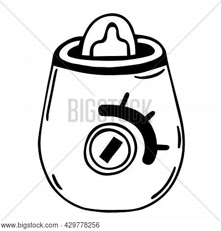 Sterilizer For Baby Bottles Vector Icon. Hand Drawn Doodle Isolated On White Background. Device For
