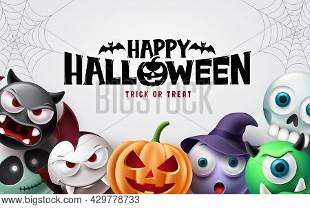 Happy Halloween Background Design. Halloween Trick Or Treat Text With Scary Pumpkin, Witch, Vampire