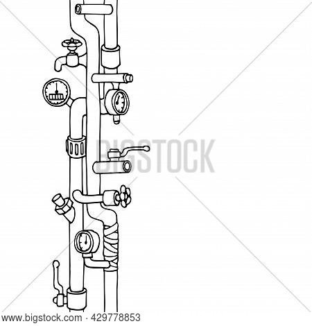 Vertical Seamless Pattern, Water Supply System In The House With Pipes, Valves, Filters, Pressure Ga
