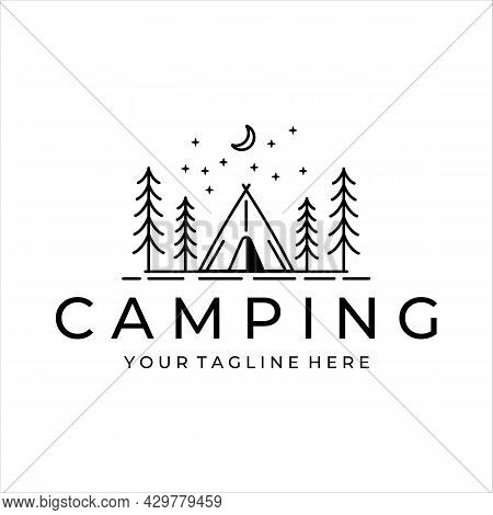 Camping Logo Line Art Simple Minimalist Vector Illustration Template Icon Design. Adventure And Wand
