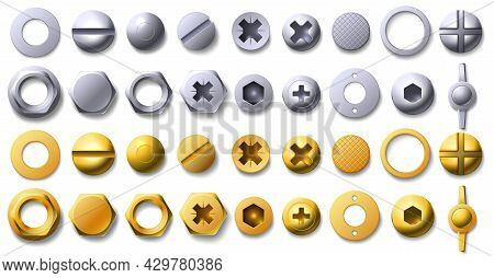 Gold And Metal Screw, Rivet And Bolt Heads Top View. 3d Brass And Steel Nail, Buttons, Hexagon And C